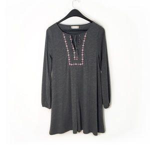 Altar'd State Midi Dress, Small, Gray, Long Sleeve